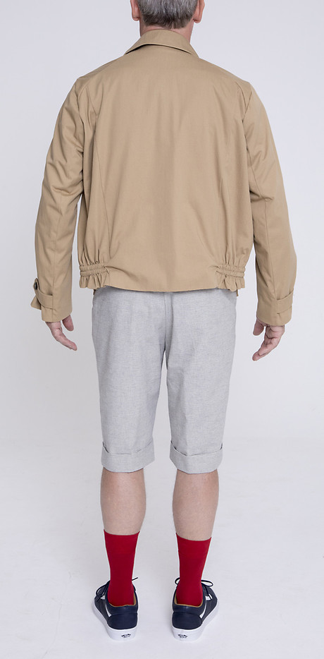 Double Breasted Blouson über Gatsby Narrow Hem Shorts