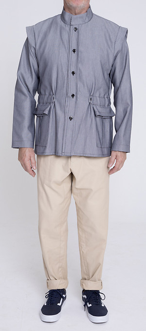 Belted Shirt Jacket über Baggy Pants Narrow Hem