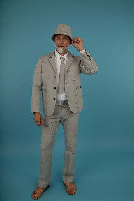 Blazer Eugen Shirt Ullrich vertically Tie Suit Pant with French Pocket Bucket Hat